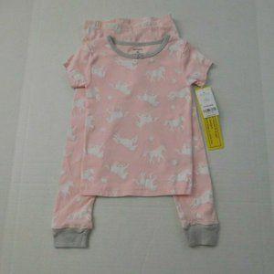 NWT 2pc Carter's Pink White Unicorn Pajamas